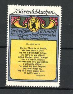 Reklamemarke Bären-Lebkuchen, Lebkuchenfabrik Gebr. Schmidt, Mainbernheim, Gedicht und Wappen