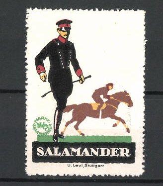 Reklamemarke Salamander Schuhe, Soldat mit Stiefel, Jockey mit Pferd im Hintergrund