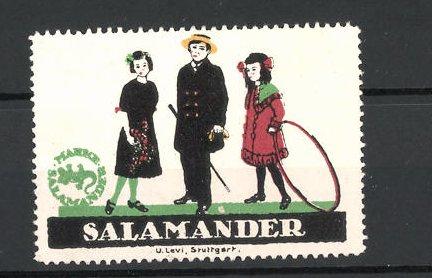 Reklamemarke Salamander Schuhe, Kinder mit Reifen und Stock