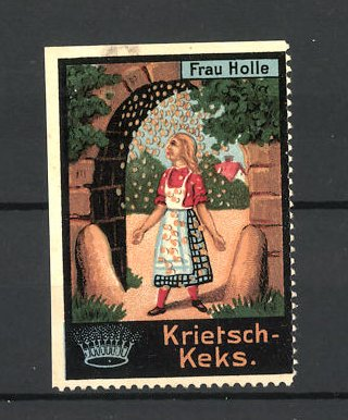 Reklamemarke Krietsch-Keks, Goldmarie aus dem Märchen Frau Holle
