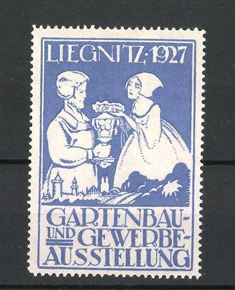 Reklamemarke Liegnitz, Gartenbau- und Gewerbe-Ausstellung 1927, Mann und Frau mit Kranz und Pokal