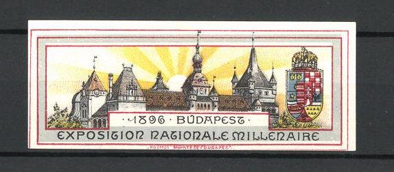 Reklamemarke Budapest, Exposition Nationale Millenaire 1896, Schlossansicht mit Ortswappen