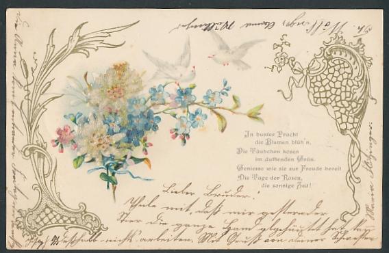 Glitzer-Perl-AK Vergissmeinnicht mit weissen Blumen und Tauben mit Glitzer-Perlen