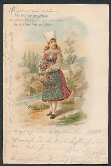 Glitzer-Perl-AK junge Frau in Tracht mit Glitzer-Perlen