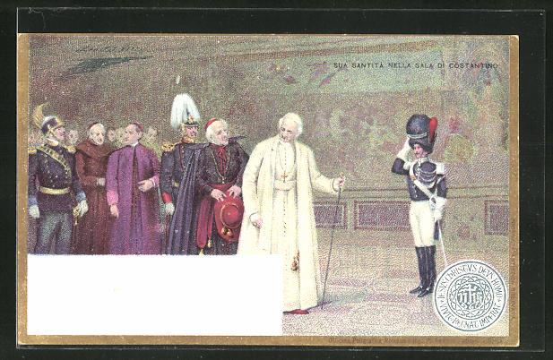 AK Papst Leo XIII. in der Sala di Costantino