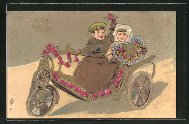 Präge-AK Kleines Paar im Motor-Dreirad