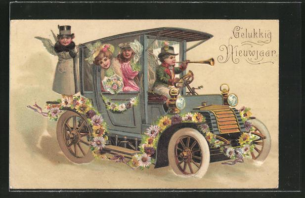 Präge-AK Engelchen chauffieren ein Paar im Auto
