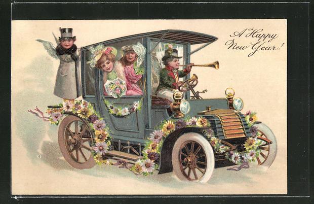 Präge-AK Neujahrsgruss, Engelchen chauffieren ein Paar im Auto