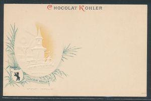 Präge-AK Reklame für Chocolat Kohler, Chapelle Alpestre Wildkirchel, Appenzell