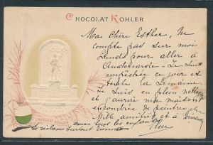 Präge-AK Reklame für Chocolat Kohler, Major Davel, Lausanne