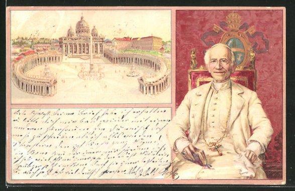 AK Rom, Petersdom, Papst Leo XIII.