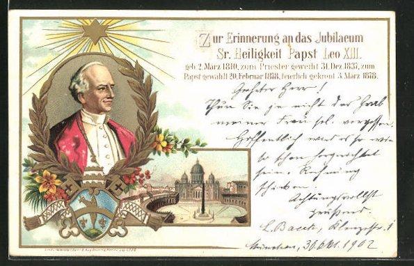 Lithographie Rom, Petersdom, Jubiläum Papst Leo XIII.