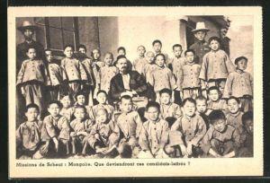 AK Mongolei, Missions de Scheut, Missionare mit Schülern