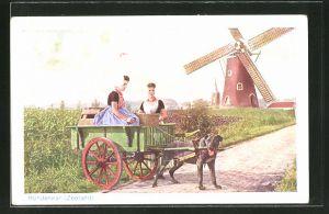 AK Hondenkar, Frauen im Hundegespann mit Windmühle