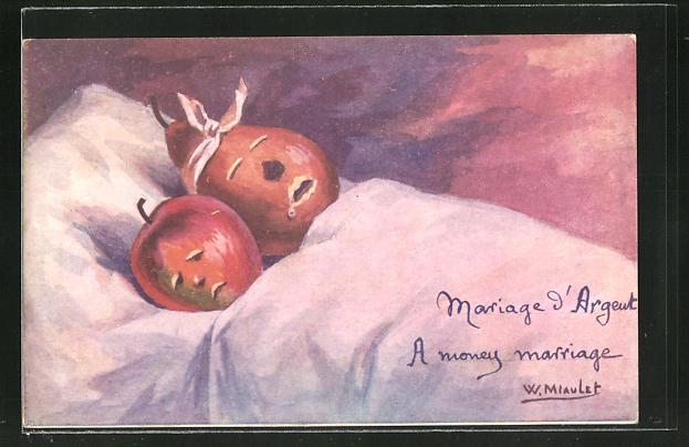 AK vermenschlichte Birne und Apfel liegen im Bett und schlafen, Metamorphose