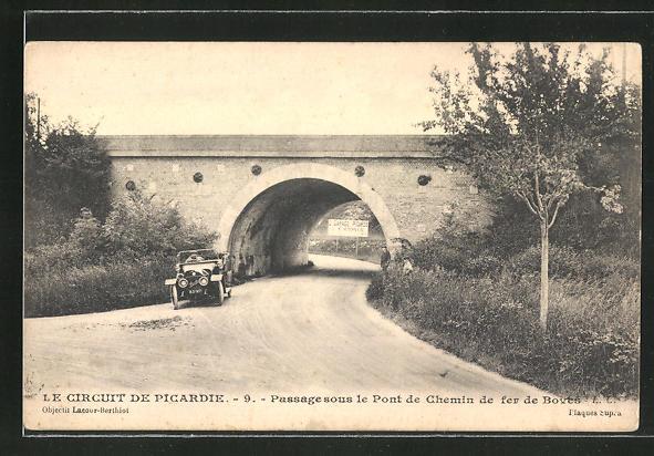AK Le Circuit de Picardie, Passage sous le Pont de Chemin de fer de Boves, Autorennen