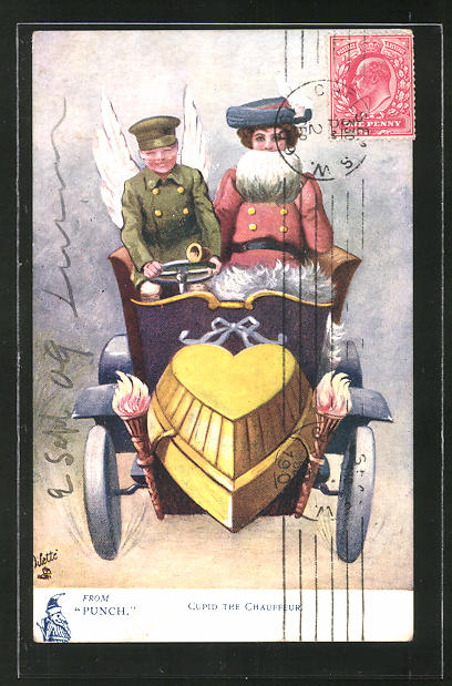 Künstler-AK Cupis the Chauffeur, Amor als Fahrer mit Dame im Auto