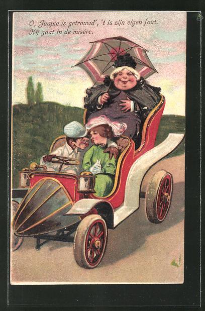 Präge-Lithographie Liebespaar beim Kuss im Auto mit Gouvernante