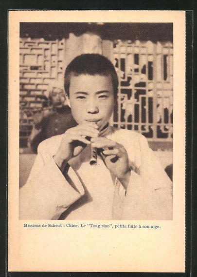 AK China, Missions de Scheut, Le Tong-siao, petite flüte á son aigu, asiatische Volkstypen