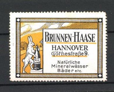 Reklamemarke Königl. Fachingen, Brunnen-Haase, Göthestrasse 9 in Hannover, Hase mit Wasserflasche