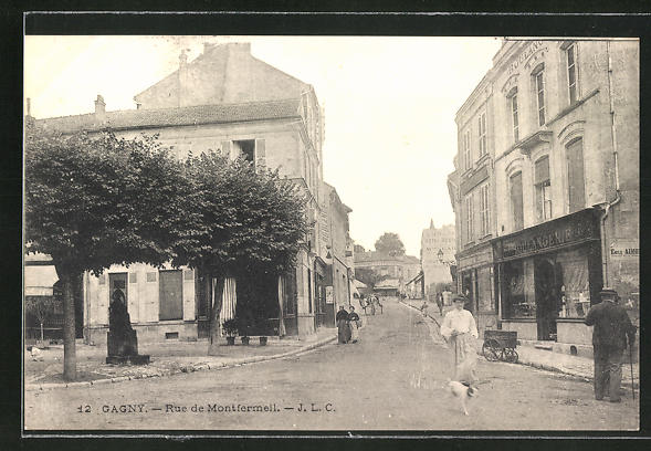 AK Gagny, Rue de Montfermeil, Strassenpartie