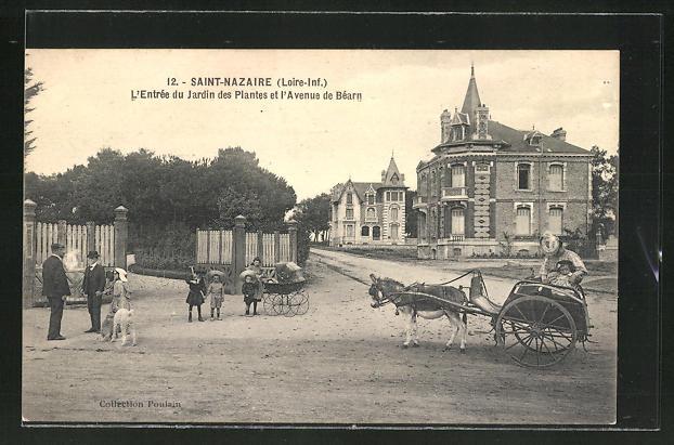 AK Saint-Nazaire, L'Entrée du Jardin des Plantes et l'Avenue de Béarn