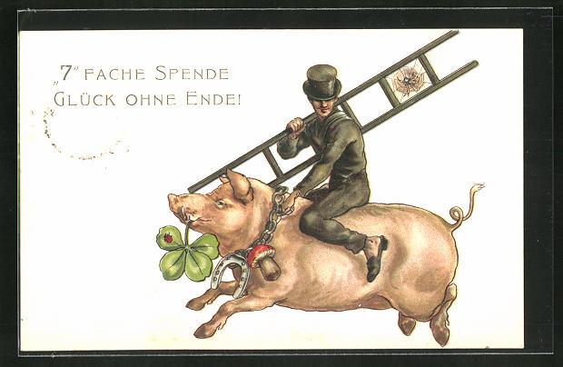 AK Schornsteinfeger reitet auf einem Schwein mit Pilz, Hufeisen und Kleblatt