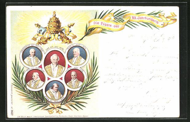 Lithographie die Päpste des XIX. Jahrhunderts, Papst Leo XIII. seit 1878