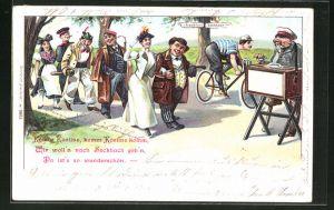 AK Männer und Frauen gehen nach Seckbach, Mann spielt auf einem Leierkasten