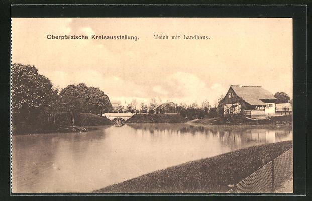 AK Regensburg Oberpfälzische Kreisausstellung, Teich mit Landhaus