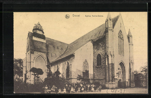 AK Douai, Eglise Notre-Dame mit rückseitiger Reklame für Grammophon