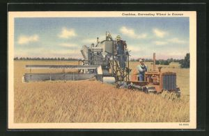 AK Combine, Harvesting Wheat in Kansas mit Caterpillar, Landwirtschaft