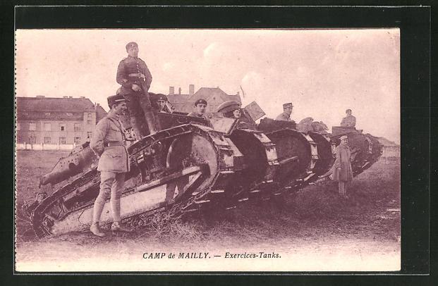 AK Camp de Mailly, Exercices-Tanks, französischer Übungs-Panzer