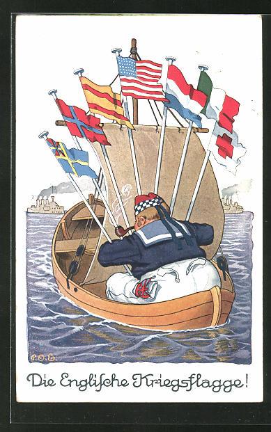 Künstler-AK P. O. Engelhard (P.O.E.): die Englische Kriegsflagge, Matrose auf einem kleinen Boot mit Fahnen, Propaganda