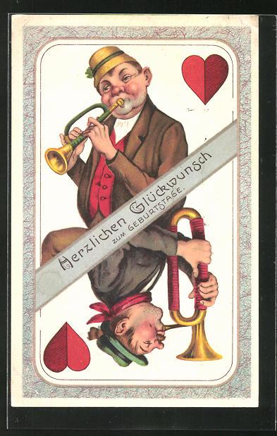AK Trompeter auf einer Herz-Karte, Kartenspiel