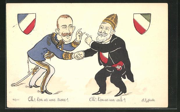 AK Französischer Staatspräsident Loubet empfängt den italienischen König, Karikatur