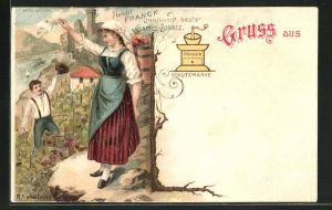 Lithographie Reklame für Franck-Kaffeezusatz, Kaffeemühle, Frau winkt zum Rhein hinunter