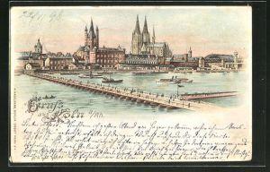 Lithographie Köln, Panoramablick mit Kölner Dom, Halt gegen das Licht