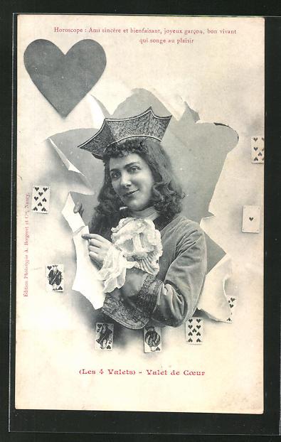 AK Kartenspiel, Herzbube blickt aus der Spielkarte heraus