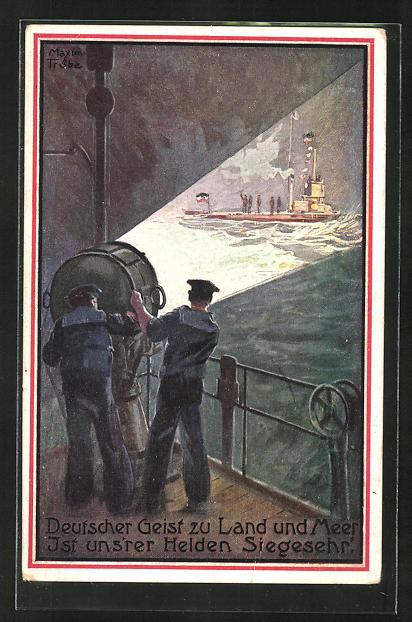 Künstler-AK Maxim Trübe: Deutsches U-Boot im Scheinwerferlicht eines Kriegsschiffes