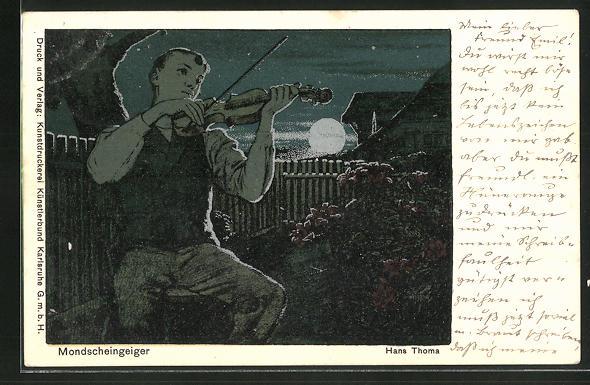 Künstler-AK Hans Thoma: Mondscheingeiger
