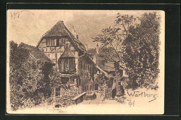 Künstler-AK Carl Jander: Wartburg