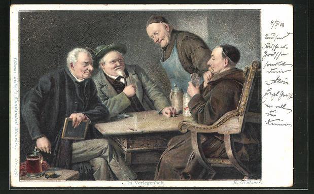 AK Männer bei einem Kartenspiel