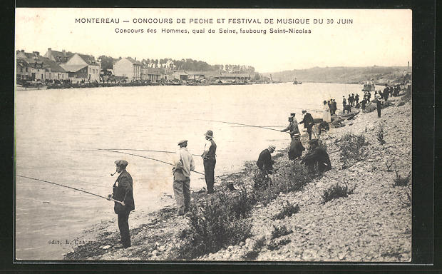 AK Montereau, Concours de Peche et Festival de Musique du 30 Juin, Angelwettbewerb am Fluss