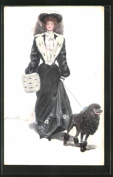 Künstler-AK Clarence F. Underwood: Elegante Dame führt ihren Pudel spazieren