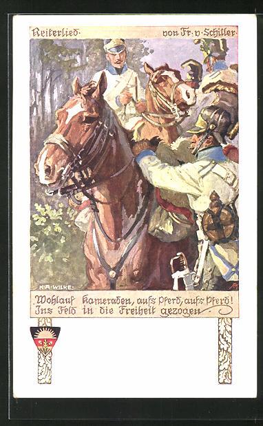 Künstler-AK Karl Alex Wilke: Soldaten zu Pferde,