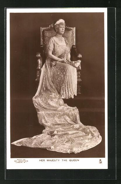 AK Queen Mary von England in eleganter Robe und Diadem