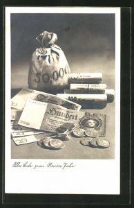 AK Stillleben mit Geldsack, Scheinen und Münzen,