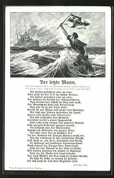 Künstler-AK Hans Bohrdt: Matrose mit Reichskriegsflagge, Kriegsschiffe auf hoher See,