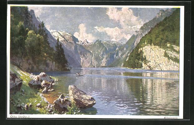 Künstler-AK Otto Strützel: Panoramaansicht vom Königsee